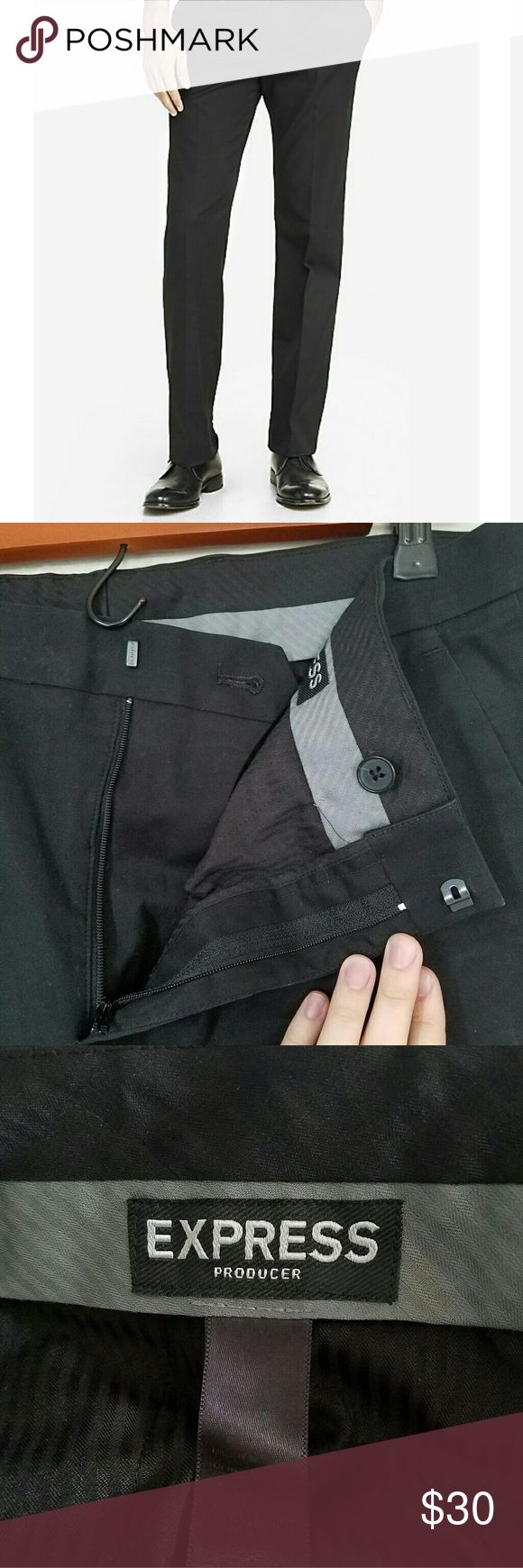 Mens Express producer pant Black Producer Express dress pants  Hidden hook and button closure with zip fly Slant hand pockets and slit back pockets with buttons Excellent used condition! Just needs a good iron or visit to dry cleaners Express Pants Dress