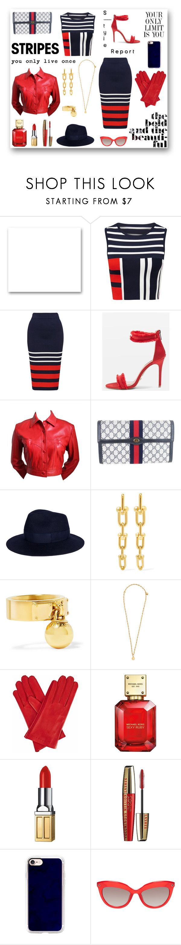 """""""Stripes"""" by rboowybe ❤ liked on Polyvore featuring St. John, Topshop, Alaïa, Gucci, Gizelle Renee, Michael Kors, Elizabeth Arden, L'Oréal Paris, INC International Concepts and Casetify"""