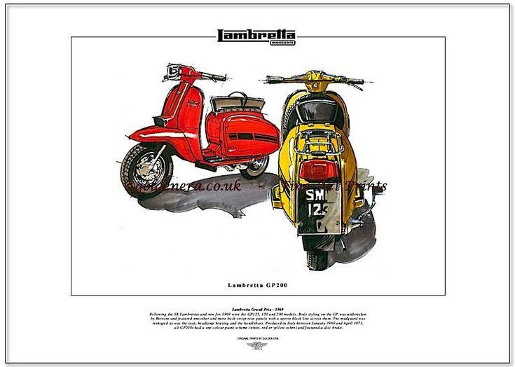 LAMBRETTA GP200 Scooter Fine Art Print Grand Prix styled