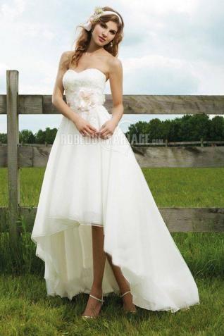 Traîne watteau col en cœur satin fleur robe de mariée civile [#ROBE209224] - robedumariage.com
