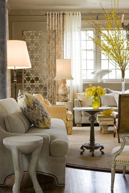 Barry Dixon | 2010 DC Design House Conservatory | barrydixon.com. Gorgeous living space with yellow and grey accents.