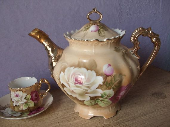 Antique Lefton China brown heritage teapot, hand painted teapot, Japanese teapot, porcelain teapot, pink roses teapot, antique teapot