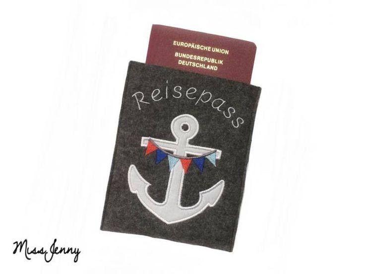 ♥ Reisepass-Hülle Wollfilz anthrazit Anker ♥ von MissJenny auf DaWanda.com