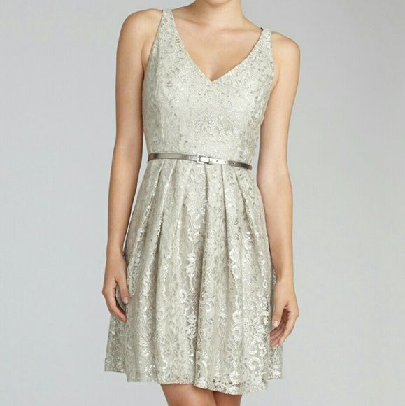 """Donna Morgan Coco Metallic Lace Dress Size 10 This gorgeous dress comes in the """"sandstone"""" color and features metallic lace and a silver belt. Only worn once, so it is in excellent pre-owned condition. Size 10. Donna Morgan Dresses Mini"""