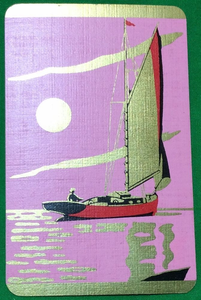 Playing Cards 1 Swap Card - Old Vintage Art Deco SAILING YACHT DINGHY BOAT 2