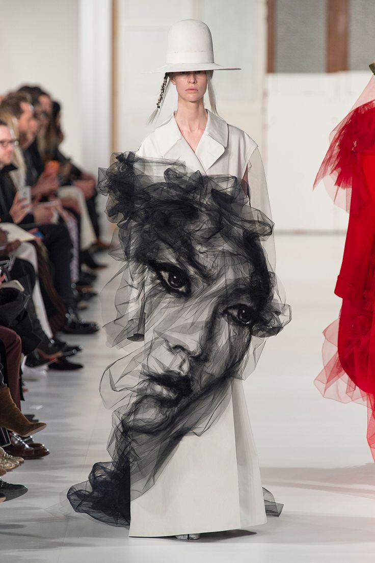 the artist collaborated with fashion designer john galliano to create an ethereal portrait made of tulle.
