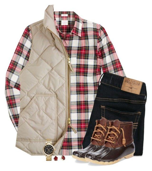 """J.Crew holiday plaid with vest & duck boots"" by steffiestaffie ❤ liked on Polyvore featuring J.Crew, Hollister Co., Sperry, Kendra Scott and Michael Kors"