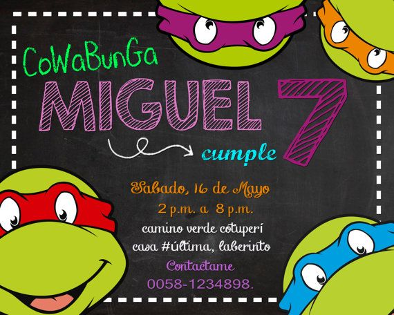 Invitación de Cumpleaños de Tortugas Mutantes Ninjas