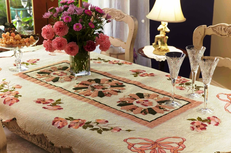 Roses for Mary table quilt - embroidery, patchwork and quilting - the whole package. www.jennyhaskins.com
