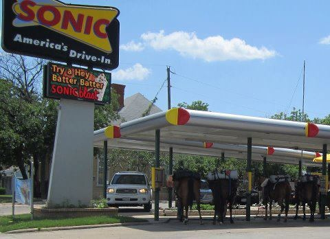 Courtesy WFAA-8 (ABC-TV) in Dallas . . . .as seen in Hillsboro, Texas yesterday . . .you know you're in Texas when you drive up to a Sonic and this is what you find..