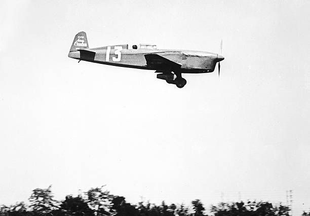 Airplane Caudron450 Renault of Helene Boucher in flight with which she won the speed record of all classes on 1000 km on July 1934