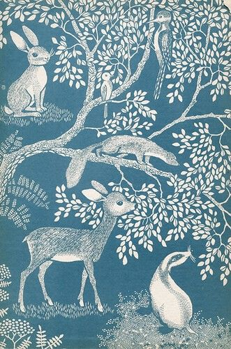 deer, rabbit, badger, tree wallpaper. //  Blue & White - Woodland Residents - Fabric or Wallpaper