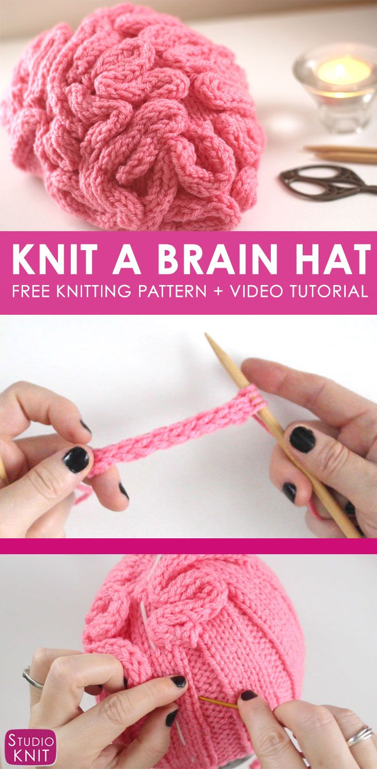 How to Knit a Brain Hat for Science March with Free Knitting Pattern + Video Tutorial by Studio Knit via @StudioKnit