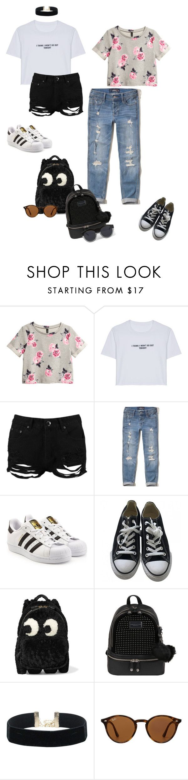 """Look of the day"" by audrey-balt ❤ liked on Polyvore featuring H&M, WithChic, Boohoo, Hollister Co., adidas Originals, Converse, Anya Hindmarch, Andrew Marc, Ray-Ban and Le Specs"