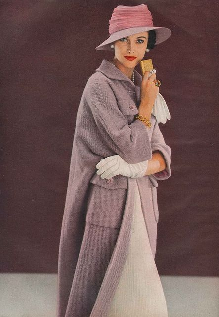 March Vogue 1957 Wearing a wool amethyst coat by Ben Zuckerman and a felt and chiffon hat by Lilly Daché. Photo by Frances McLaughlin-Gill.