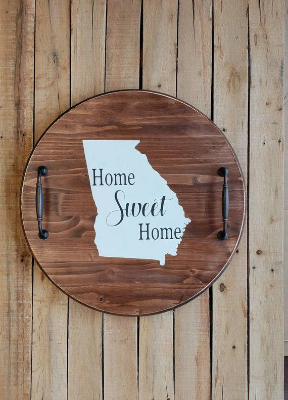 Lazy Susan Tray With Handles Home Sweet Home Home State Stained
