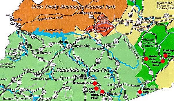 Maggie Valley Waterfalls Map