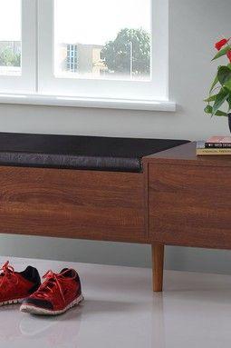 Merrick Mid-century Retro Modern 1-drawer 2-tone Oak and Dark Brown Wood Entryway Storage Cushioned Bench Shoe Rack Cabinet Organizer