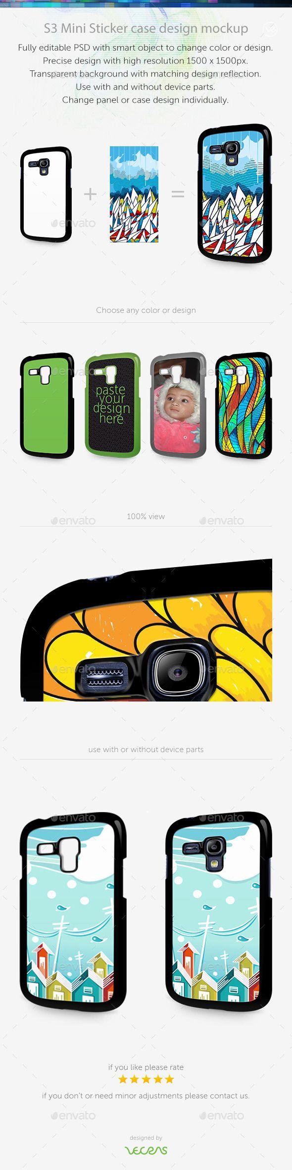 S3 Mini Sticker Case Design Mockup — Photoshop PSD #mobile #digital print • Available here → https://graphicriver.net/item/s3-mini-sticker-case-design-mockup/10449370?ref=pxcr