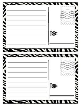 Postcards that can be used in a writing center or as a send-home note. The front was left blank so that students can decorate it themselves. I made this black and white to make it cheap and easy to reproduce. This would be super cute printed on colored paper, too