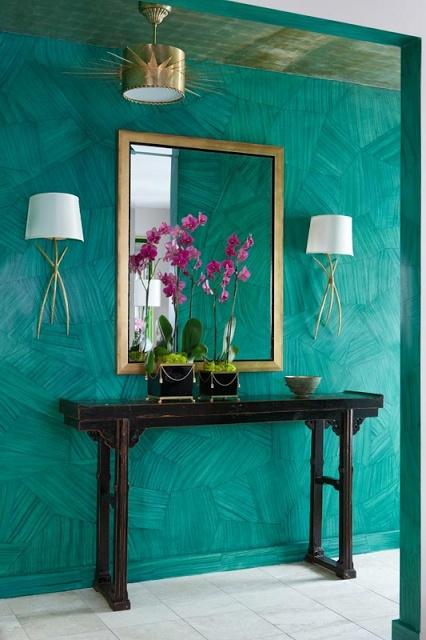 Teal Wall & fabulous gold light fixtures