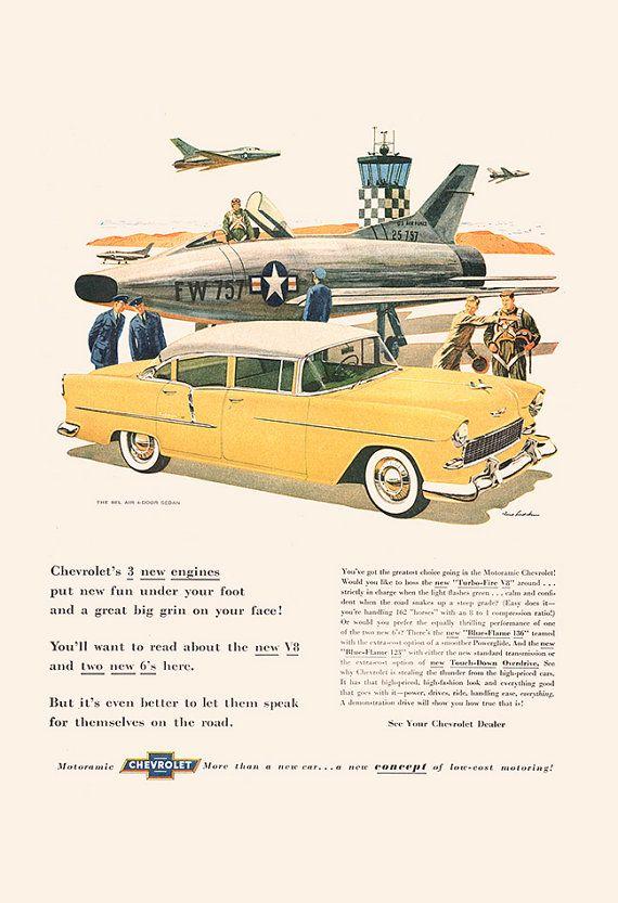 VINTAGE CHEVROLET CAR Ad Mid Century Car Ad by EncorePrintSociety