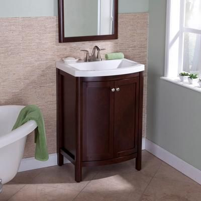 Turn your bath into a welcome retreat using St  Paul Madeline Vanity in  Chestnut with White Composite Top  Provides ample storage space. 31 best images about Home   Basement on Pinterest   Vanities
