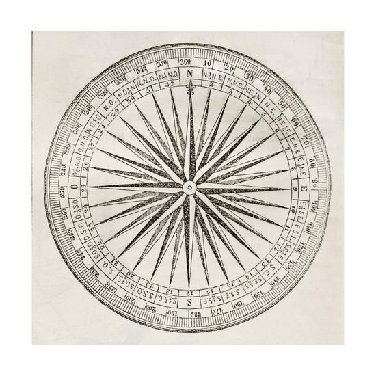 Wind Rose Old Illustration Art Print by marzolino at Art.com