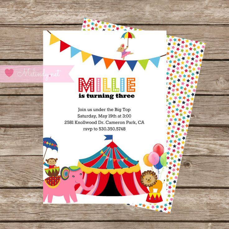 """Circus Birthday Invitation and Thank You Card With Bonus Banner!  Under the Big Top Digital  """"Print and Party"""" by MelindyDesigns on Etsy"""