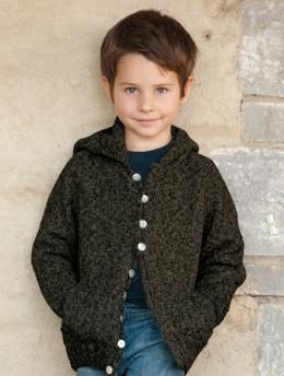 Free Hood Sweater pattern - A hooded raglan cardigan with a button-downed front is perfect to keep children warm during cooler days.