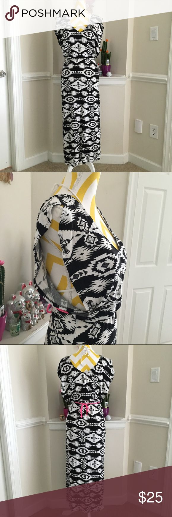 Black Aztec beach maxi dress Used once then washed, no flaws. No brand Dresses Maxi