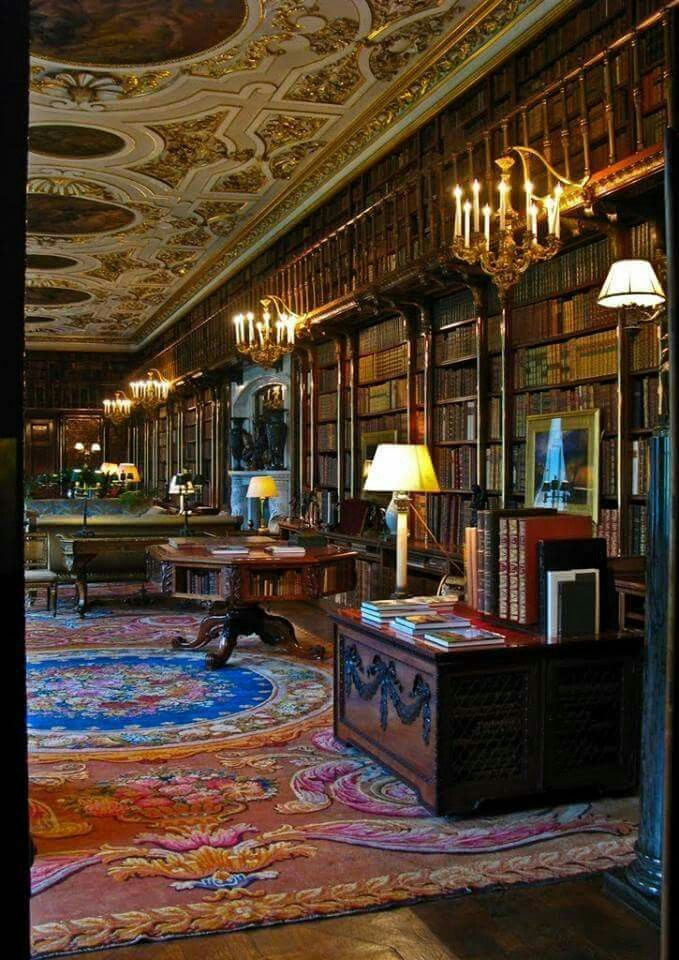The Library inside Chatsworth Manor House, in Derbyshire, England. Chatsworth House was built by Sir William Cavendish and his wife Bess of Hardwick. They bought the 1,000 acre estate land in 1549 and construction of the house started in 1552. In the 19th century, the Duke of Devonshire acquired the Manor, and made major transformations. One of them was 'the long gallery', originally created by the First Duke, into a library. He was a great lover of books and purchased entire libraries.