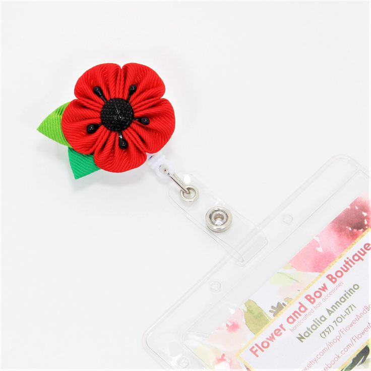 Flower ID Holder Poppy Badge Reel Nurse Badge Reel Flower Badge Reel Teacher Appreciation Gift Poppy Flower Remembrance Day ID Badge Reel #flower #poppyflower #remember #red #kanzashi #badgereel