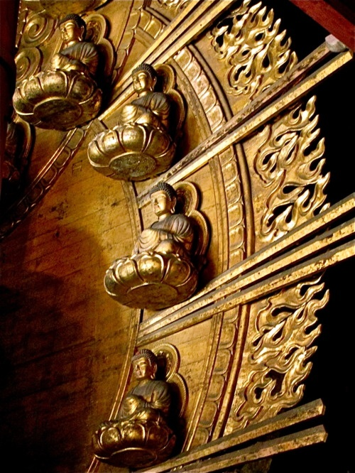 Golden little buddha statues, Nara, Japan