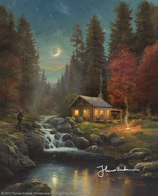 """From a prolific artistic lifetime of painting, we are excited to introduce """"Away From It All"""" one of Thomas Kinkade's last completed pieces of work.      While this was one of the last images Thom painted, it is the first image to be released in a series of wondrous outdoor vistas in the Away From It All Collection.  In this, we see how Thom was indelibly influenced as a child by the majestic views of the Sierra-Nevada mountain range as he beautifully captured the grandeur of the great…"""