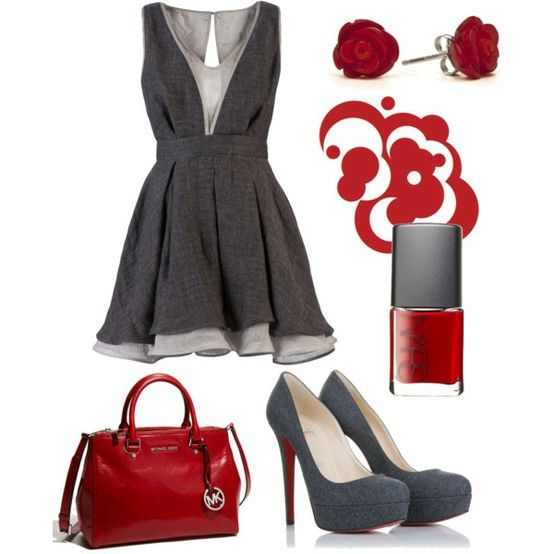 Red & GreyDates Night Outfit, Fashion, Outfit Ideas, Red, Style, Day Outfit, Cute Outfit, The Dresses, Grey Dresses