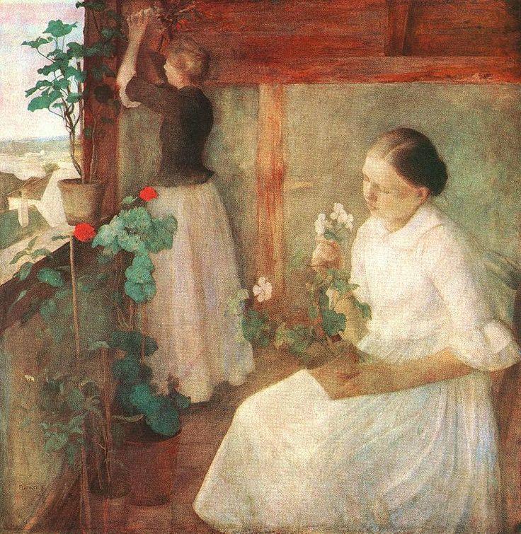 Ferenczy Károly, Leányok virágokat gondoznak,  1889  Olaj, vászon, 122 x 121,5 cm  Magántulajdon