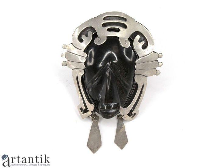 "Brosa-pandant aztec, argint si obsidian "" gold sheen """