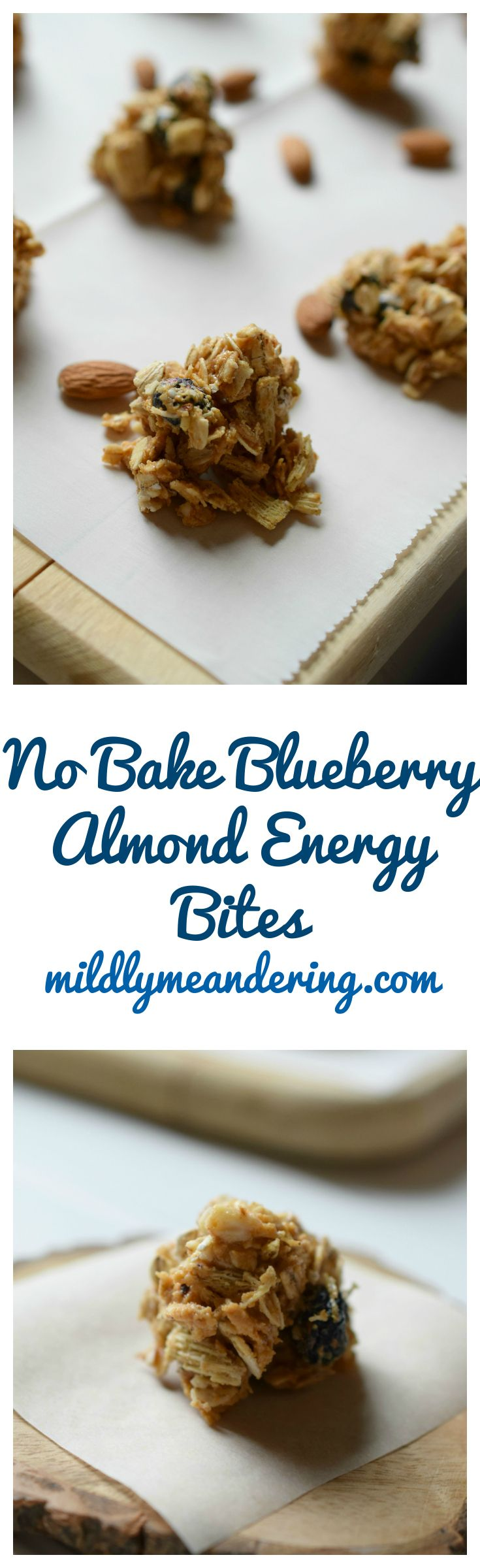 No Bake Blueberry Almond Energy Bites - Mildly Meandering