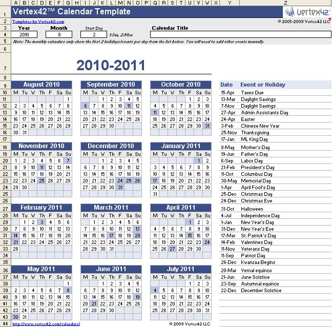 Sample Annual Calendar Curriculum Academic Calendar The University