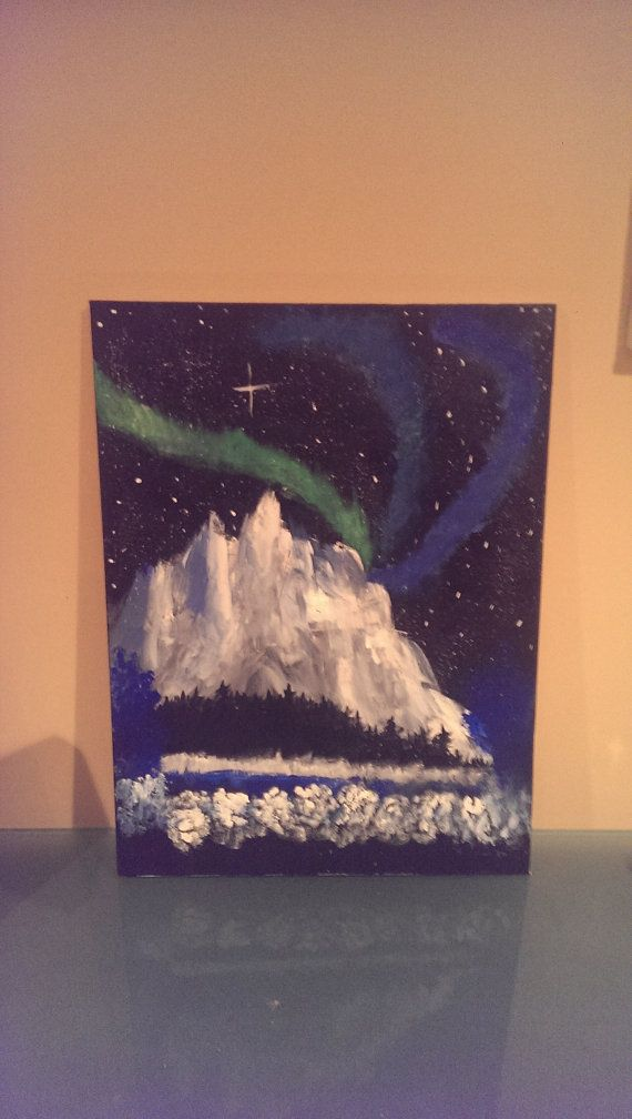 Original abstract acrylic painting mountain with by polarizedart