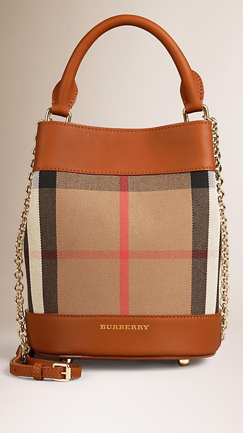Light toffee The Small Bucket Bag in Horseferry Check and Leather - Image 1
