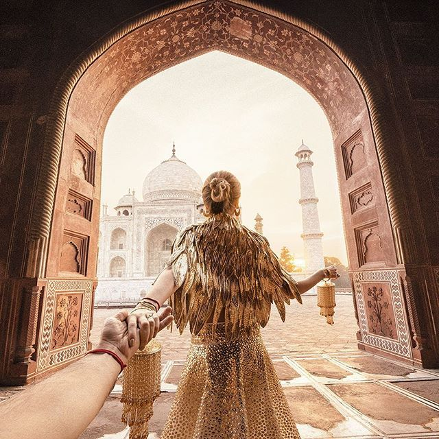 WEBSTA @ muradosmann - #followmeto Taj Mahal with @natalyosmann. Finding a new angle was a challenge for us... I will be honest with you -  I like this picture more than the previous one from Taj. Which one is your favourite? Thanks to our dear friend @mohitrai for coming to hotel at 5:30 a.m. and helping us with the dresses. #следуйзамной в Тадж Махал. Признаюсь вам - найти новый ракурс и переплюнуть предыдущую фото было для нас сложной задачей, но эта фотография мне нравится больше :). А…