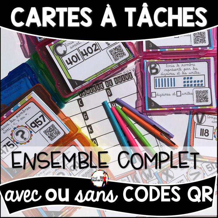 384 Cartes -Tâches avec ou sans CODES QR sur les notions de mathématiques exploitées au 1er cycle du primaire.