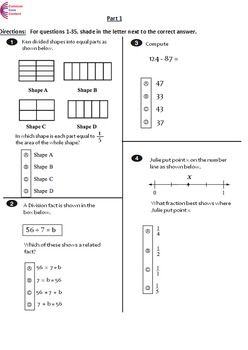rd grade common core math assessments  tests  form a and b  rd grade common core math assessments  tests  form a and b  third grade   rd grade common core worksheets  common core math math assessment