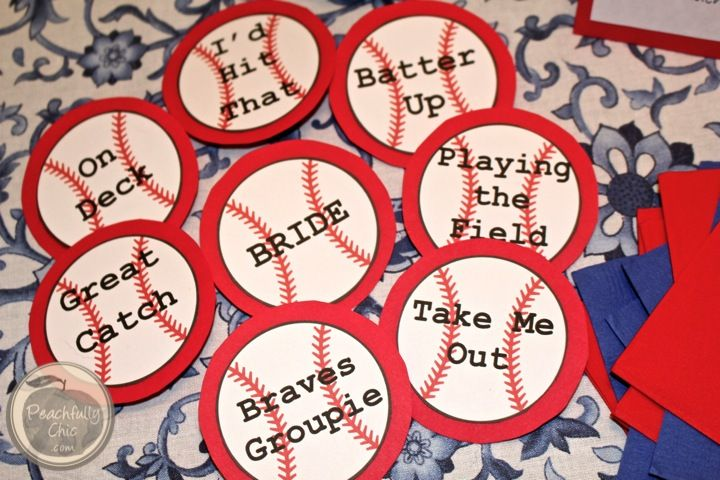 Baseball Themed Bachelorette Party - pins for everyone to wear!