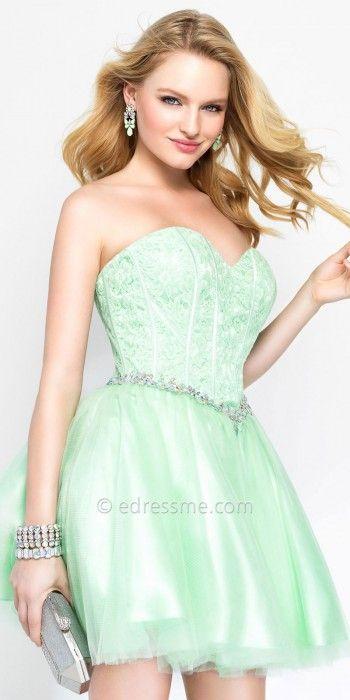 Lace Strapless Corset Fit and Flare Party Dress by Alyce Paris #edressme