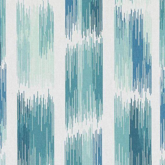 Modern Teal Fabric  Custom Aqua Blue Stripe Curtains  Blue