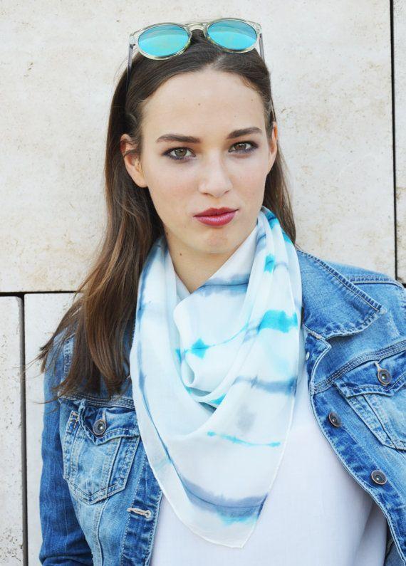 Turquoise Gray Geometrigal Shibori silk shawl by silkandmoreshop