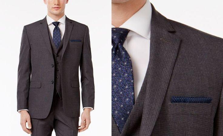 Perry Ellis Men's Slim-Fit Portfolio Gray Mini-Check Comfort Stretch Vested Suit - Suits & Suit Separates - Men - Macy's